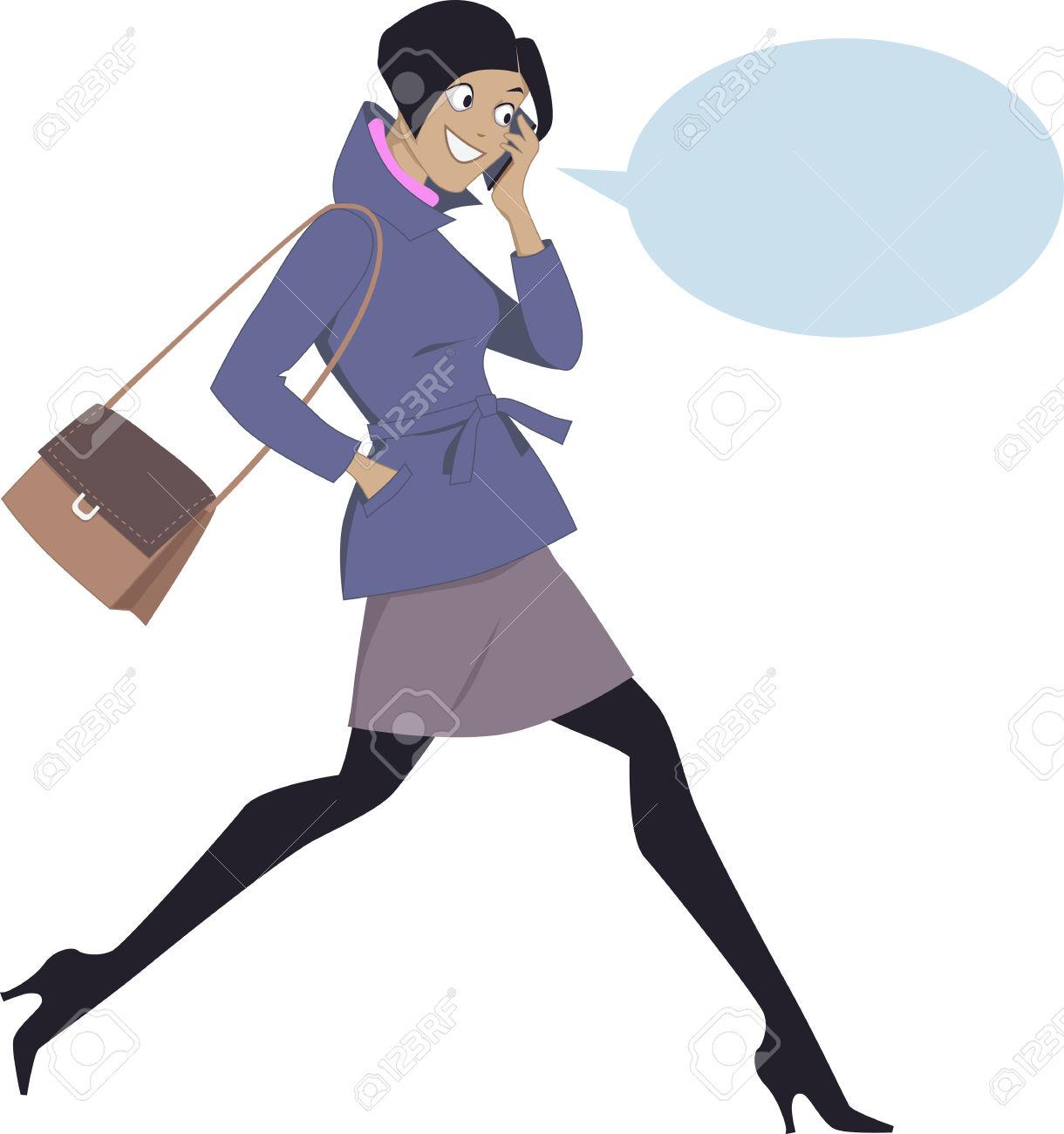 34004231-Jeune-femme-nergique-marcher-et-parler-sur-un-t-l-phone-cellulaire-isol-sur-blanc-avec-une-bulle-Banque-d'images